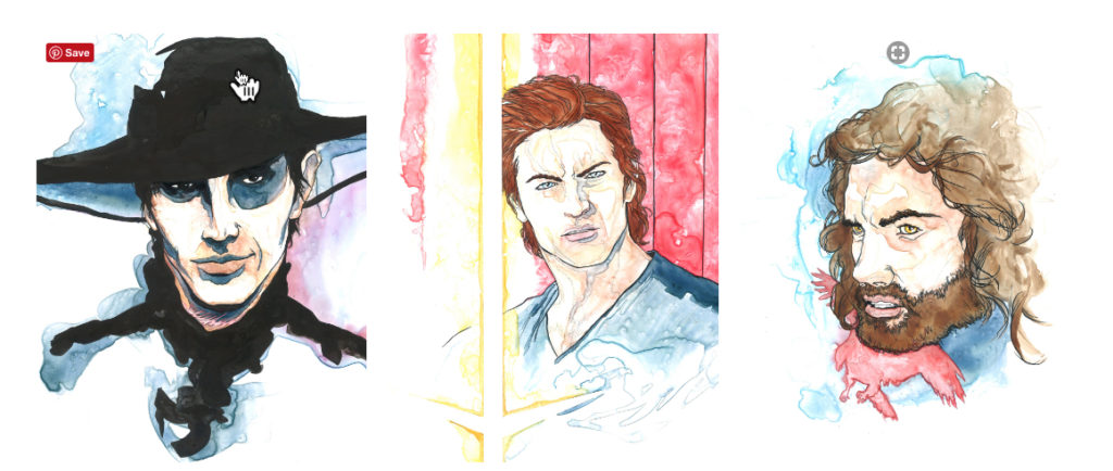 A selection of work from Joe O'Hara's Wheel of TIme character portraits, which won him the 212 JordanCon Art Show Judge's Choice Award.