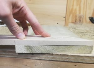 First 45-degree angle cut in the molding